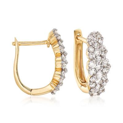 1.00 ct. t.w. Diamond Huggie Hoop Earrings in 14kt Yellow Gold, , default
