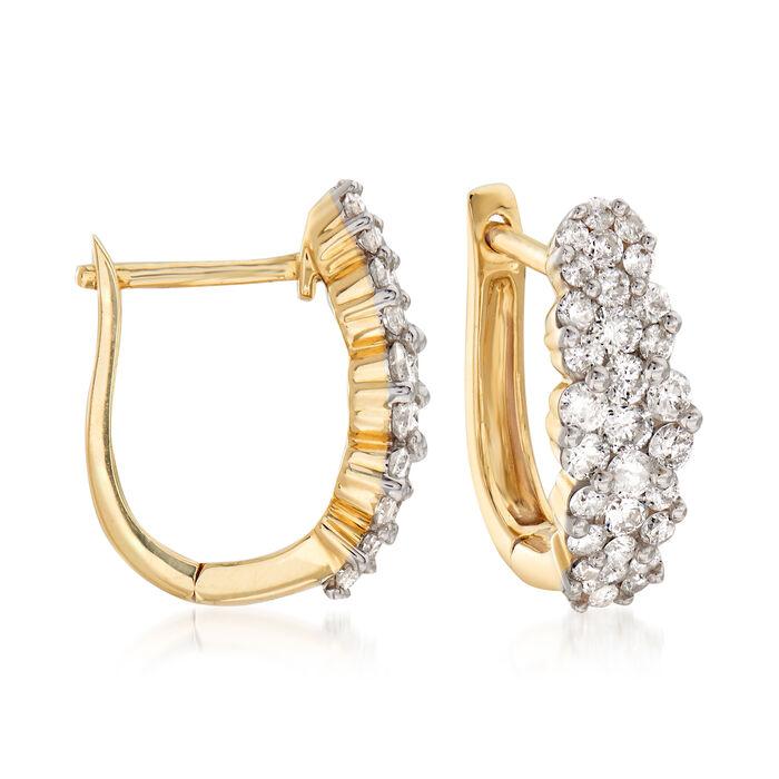 "1.00 ct. t.w. Diamond Huggie Hoop Earrings in 14kt Yellow Gold. 1/2"", , default"