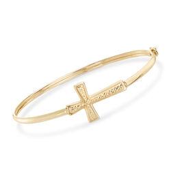 14kt Yellow Gold Sideways Cross Bangle Bracelet, , default