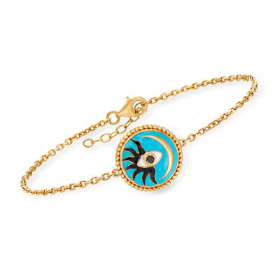 Black and Blue Enamel Evil Eye, Sun and Moon Bracelet in 18kt Gold Over Sterling