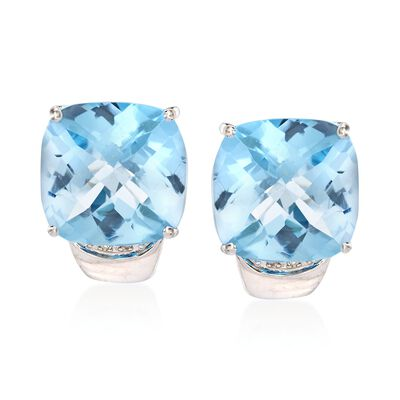 27.00 ct. t.w. Blue Topaz Earrings With Diamond Accents in Sterling Silver, , default