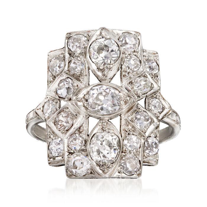 C. 1940 Vintage 1.80 ct. t.w. Diamond Dinner Ring in Platinum. Size 7