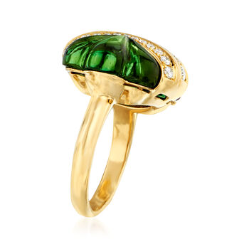 C. 1980 Vintage Tourmaline and .63 ct. t.w. Diamond Ring in 18kt Yellow Gold. Size 6