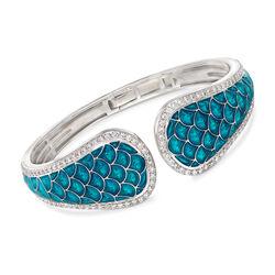 """Belle Etoile """"Marina"""" Sea-Blue Enamel and 3.15 ct. t.w. CZ Cuff Bracelet in Sterling Silver, , default"""