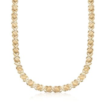 "C. 2000 Vintage 14kt Yellow Gold XO Necklace. 19.5"", , default"