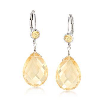 13.50 ct. t.w. Citrine Drop Earrings in Sterling Silver , , default
