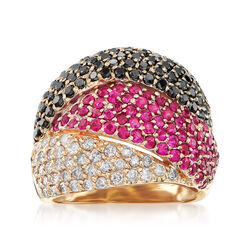 C. 1990 Vintage 2.65 ct. t.w. Black and White Diamond and 1.65 ct. t.w. Ruby Ring in 14kt Yellow Gold , , default