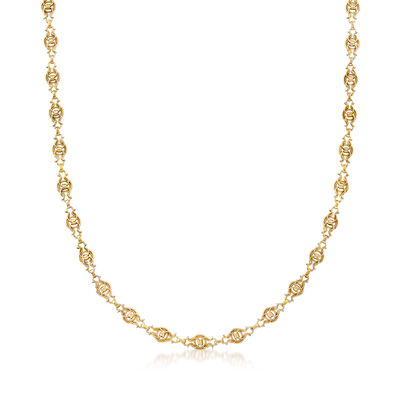 C. 1980 Vintage 18kt Yellow Gold Long Link Necklace