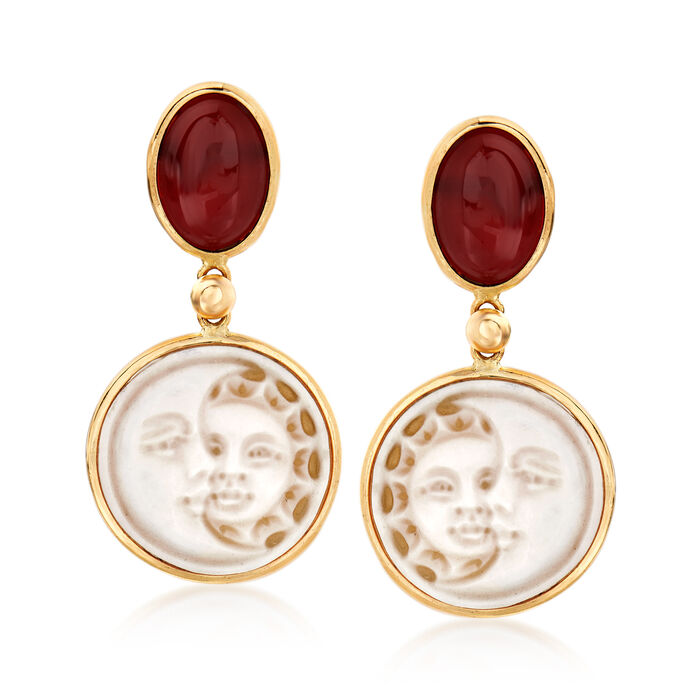 Italian Agate Sun and Moon Shell Cameo Drop Earrings in 14kt Yellow Gold, , default