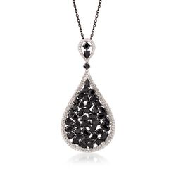 8.70 ct. t.w. Black Spinel and .80 ct. t.w. White Topaz Teardrop Pendant Necklace in Sterling Silver, , default