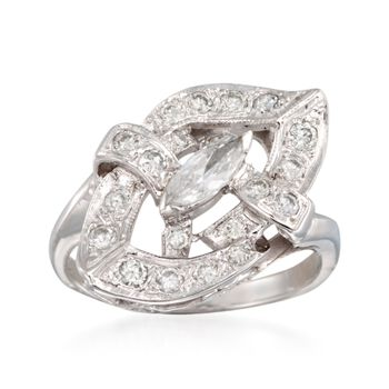 C. 1980 Vintage .53 ct. t.w. Diamond Navette Ring in 14kt White Gold. Size 6.75, , default