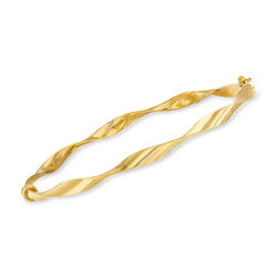 Italian 14kt Yellow Gold Ribbon Bangle Bracelet, , default