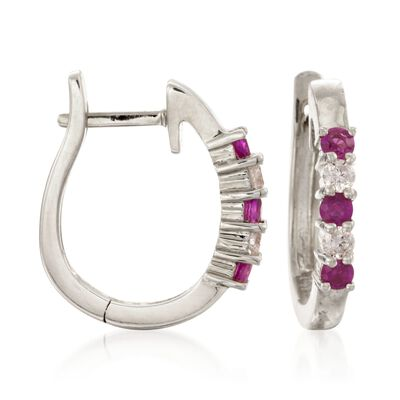 .30 ct. t.w. Ruby and .10 ct. t.w. Diamond Hoop Earrings in 14kt White Gold, , default