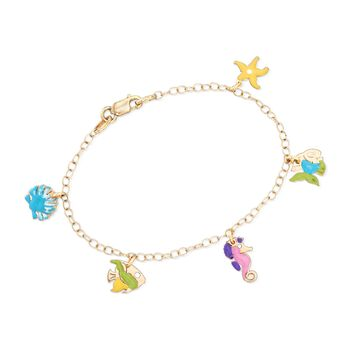 "Child's Multicolored Enamel Sealife Charm Bracelet in 14kt Yellow Gold. 6"", , default"