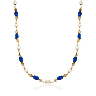 C. 1980 Vintage Cultured Pearl and Blue Enamel Bead Necklace in 18kt Yellow Gold
