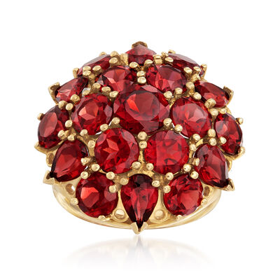 C. 1990 Vintage 9.20 ct. t.w. Garnet Cluster Ring in 14kt Yellow Gold, , default