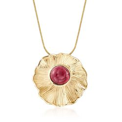 2.50 Carat Pink Tourmaline Textured Pendant in 14kt Yellow Gold, , default