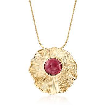 2.50 Carat Pink Tourmaline Textured Pendant in 14kt Yellow Gold, , default