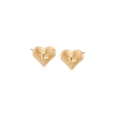 Child's Heart 14kt Yellow Gold Heart Stud Earrings, , default