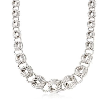 Sterling Silver Graduated Triple-Link Necklace, , default
