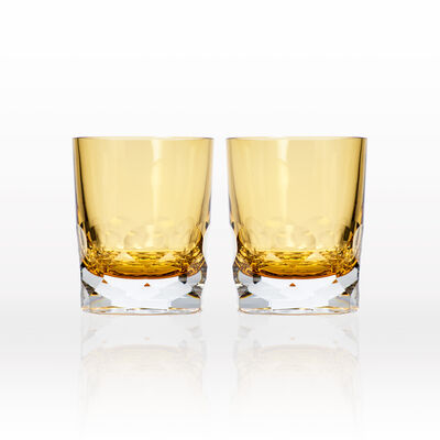 """Rolf Glass """"Vienna"""" Set of 2 Amber Double Old-Fashioned Glasses, , default"""
