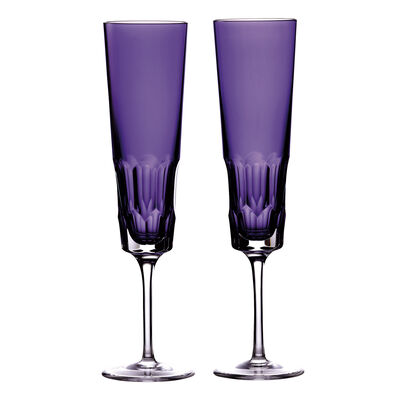 "Waterford Crystal ""Icon"" Set of 2 Purple Flute Glasses"