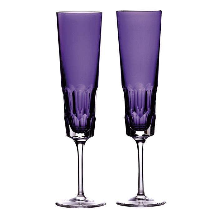 "Waterford Crystal ""Icon"" Set of 2 Purple Flute Glasses, , default"