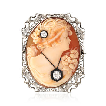 C. 1930 Vintage Pink Shell and .65 ct. t.w. Diamond Cameo Pin Pendant in 14kt White Gold