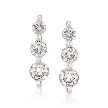 .50 ct. t.w. Graduated Diamond Drop Earrings in 14kt White Gold , , default