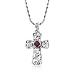1.00 Carat Garnet Openwork Cross Pendant Necklace in Sterling Silver, , default