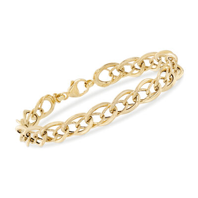 Italian 18kt Yellow Gold Double Oval-Link Bracelet, , default