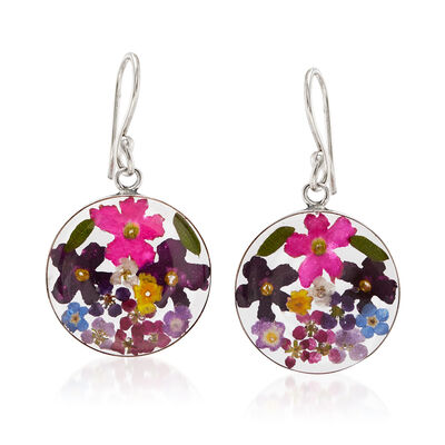 Dried Flower Round Drop Earrings in Sterling Silver
