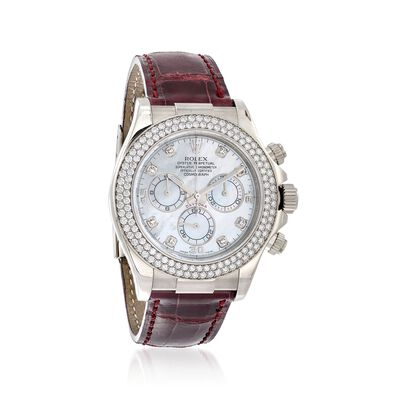 Pre-Owned Rolex Daytona Men's 40mm Diamond 18kt White Gold Watch with Burgundy Leather, , default