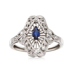 C. 1980 Vintage .25 Carat Sapphire Filigree Ring With Diamond Accents in 14kt White Gold. Size 8, , default