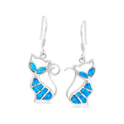 Blue Synthetic Opal Cat Drop Earrings in Sterling Silver, , default