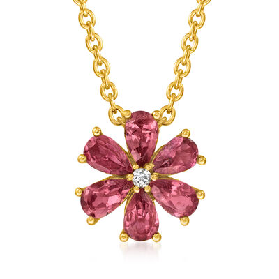 1.30 ct. t.w. Pink Tourmaline Flower Necklace with White Topaz Accent in 18kt Gold Over Sterling