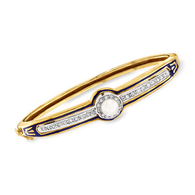 C. 1950 Vintage 5.8mm Cultured Pearl and .30 ct. t.w. Diamond Bangle Bracelet with Blue Enamel in 14kt Yellow Gold, , default