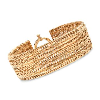 18kt Yellow Gold Over Sterling Silver Multi-Row Curb-Link Bracelet, , default