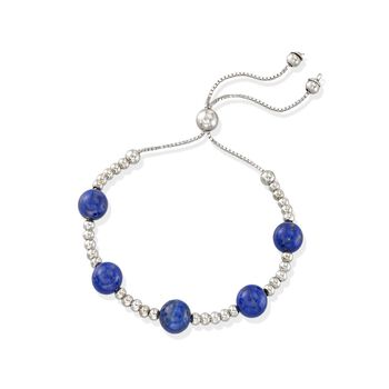 7.5-8mm Lapis Bead Bolo Bracelet in Sterling Silver. Adjustable Size