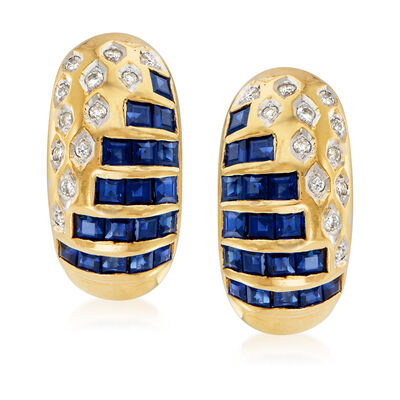 C. 1980 Vintage 2.15 ct. t.w. Sapphire and .12 ct. t.w. Diamond Earrings in 18kt Yellow Gold
