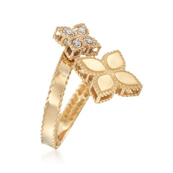 """Roberto Coin """"Princess"""" .17 ct. t.w. Diamond Flower Bypass Ring in 18kt Yellow Gold. Size 7, , default"""
