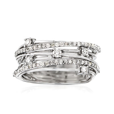 .50 ct. t.w. Diamond Highway Station Ring in Sterling Silver