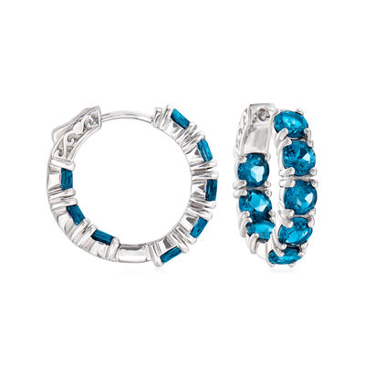 9.50 ct. t.w. London Blue Topaz Inside-Outside Hoop Earrings in Sterling Silver