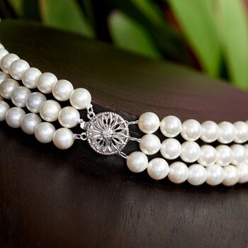 """6-12mm Shell Pearl Graduated Three-Strand Necklace in Sterling Silver. 18"""", , default"""