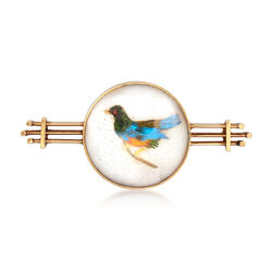 C. 1920 Vintage Mother-Of-Pearl and Genuine Feather Bird Pin in 14kt Yellow Gold, , default