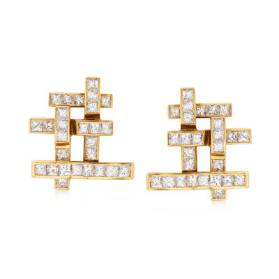 C. 1980 Vintage Hammerman Brothers 3.75 ct. t.w. Diamond Clip-On Earrings in 18kt Yellow Gold, , default