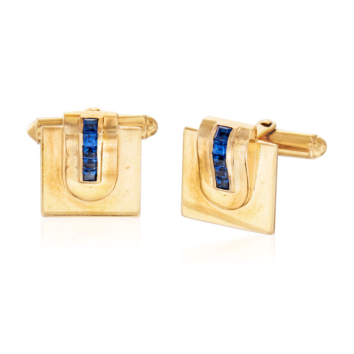 C. 1970 Vintage Tiffany Jewelry .90 ct. t.w. Sapphire Cuff Links in 14kt Yellow Gold, , default