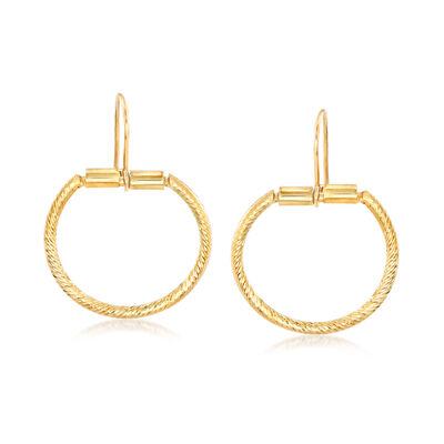 Italian 14kt Yellow Gold Front-Facing Openwork Earrings, , default