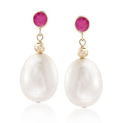 9.5-10.5mm Cultured Pearl and .60 ct. t.w. Ruby Drop Earrings in 14kt Yellow Gold, , default