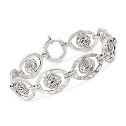 Sterling Silver Love Knot Link Bracelet, , default